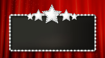 Ilustración de Marquee banner with stars, and realistic metal texture, EPS 10, vector illustration - Imagen libre de derechos