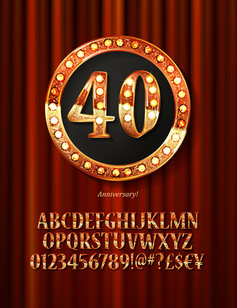 Golden alphabet with show lamps isolated on on a background of red curtain. Example of a digit in a gold round frame. Anniversary 40.