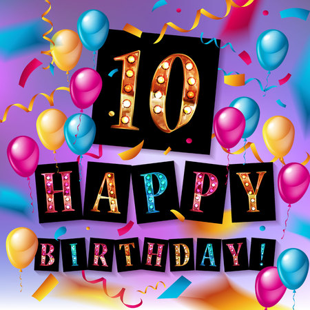 10 Years Anniversary Celebration Design on cloth, with star and balloons, Colorful Vector template elements for your birthday party.