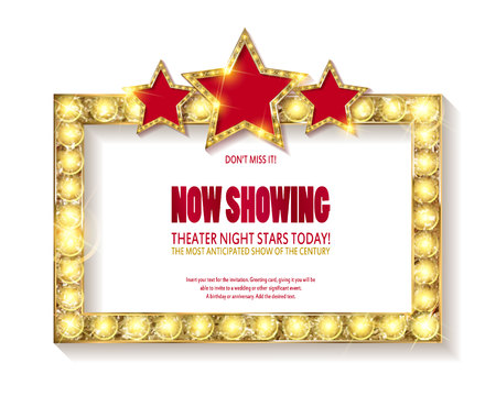 Illustration pour Theater sign or cinema sign with stars on white background. Gold retro signboard vector. - image libre de droit