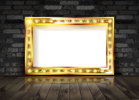 Illustration pour Vector Marquee light board sign on brick wall background. Vector illustration - image libre de droit