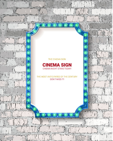 Illustration pour Vector Marquee light board sign on light grey brick wall background. Vector illustration - image libre de droit