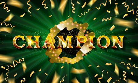 Champion banner. Champ congratulations vintage frame, golden congratulating framed sign with gold confetti.