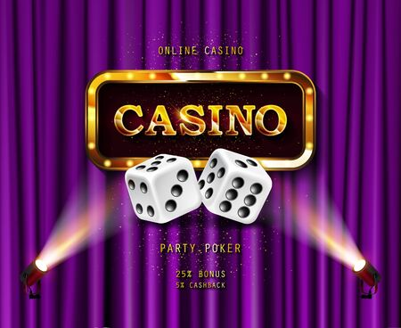 Illustration pour Shining sign Casino banner illuminated by spotlights. On the backdrop of a purple curtain. Vector illustration. - image libre de droit