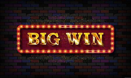Illustration pour Big Win banner for online casino, poker, roulette, slot machines, card games. Against a vintage brick wall. Vector illustrator. - image libre de droit
