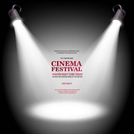 Illustration pour Scene for presentation. Cinema festival banner illuminated by spotlights. Vector illustration. - image libre de droit