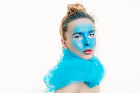 Foto per Model with a creative art make-up on her face - Immagine Royalty Free