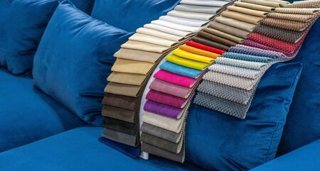 Photo pour Catalog of multicolored cloth from matting fabric texture background, silk fabric texture, textile industry background. - image libre de droit