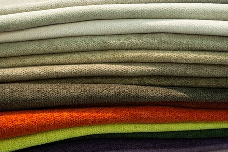 Photo pour Industry background. Catalog of multicolored cloth from matting fabric texture background, silk fabric texture. - image libre de droit