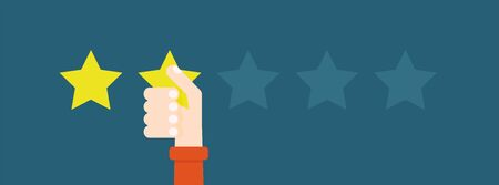 Illustration pour Flat vector illustration. Customer reviews give two stars. The concept of feedback. - image libre de droit