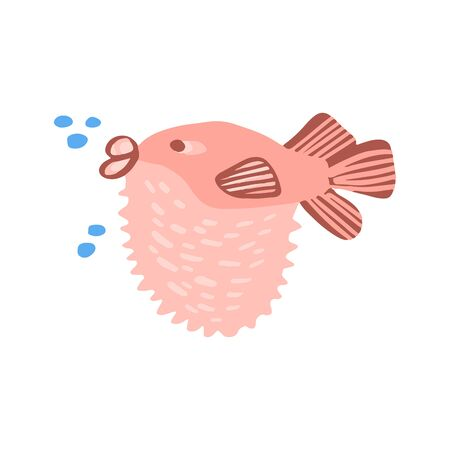 Illustration for Sweet sea animal in flat style isolated on white background. Vector cool ocean animal illustration for nursery t shirt, kids apparel, party and baby shower invitation. Simple summer child design. - Royalty Free Image