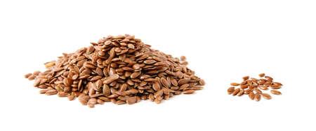 Photo pour Flax seeds heap isolated on white - image libre de droit