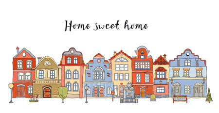 Illustration pour Row of multicolored doodle small town houses with  inscription Home sweet home . Vector - image libre de droit