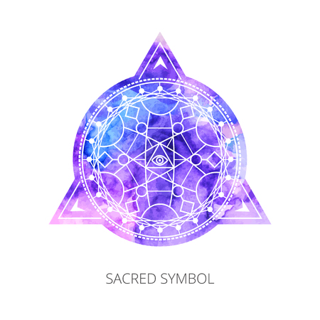 Illustration pour Sacred forms on  background of blue-pink watercolor. Backdrop under clipping mask .  Vector - image libre de droit