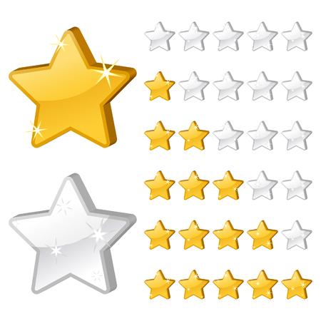 Rating stars for web. 3d illustration