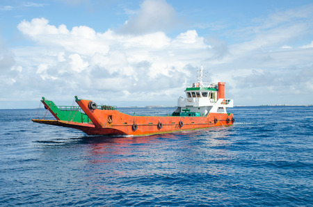 Photo for cargoship in the indian ocean maldives - Royalty Free Image