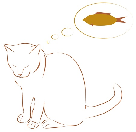 White cat dreaming of fish illustration