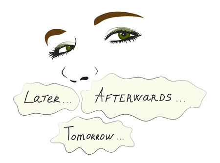 Illustration pour Conceptual illustration. Woman hides behind words later, tomorrow and afterwards - image libre de droit