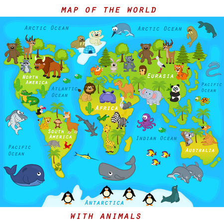 map of the world with animals - vector illustration