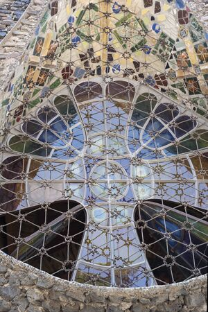 Foto de Unique windows in basilica built by Gaudi.Spain - Imagen libre de derechos