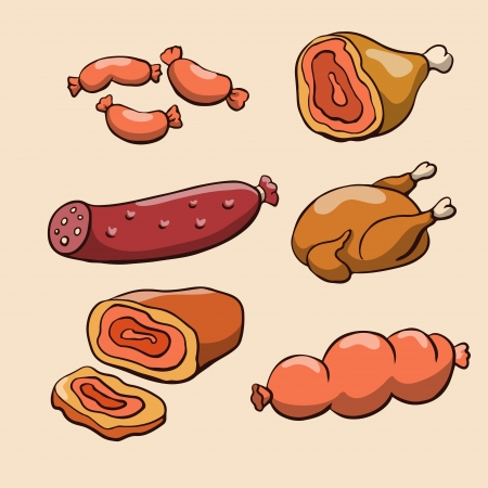 Meat products and chicken - vector