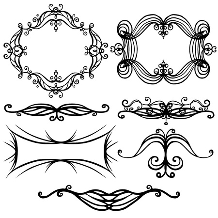 Illustration for Isolated illustration set of decorative border and frame - vector - Royalty Free Image