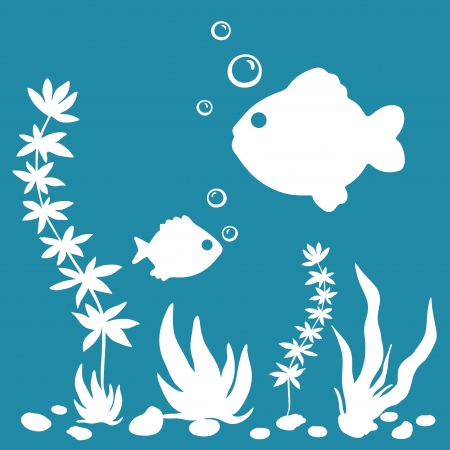 The underwater world white silhouette with plants, fishes, shells on blue background-vector illustration