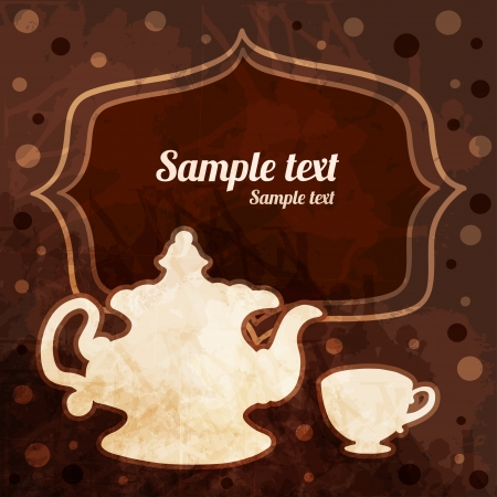 Background with tea cup, teapot, frame and space for text - vector