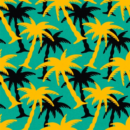 Seamless Pattern with Coconut Palm Trees  Endless Print Silhouette Texture  Ecology  Forest  Hand Drawing  Retro  Vintage Style - vectorのイラスト素材