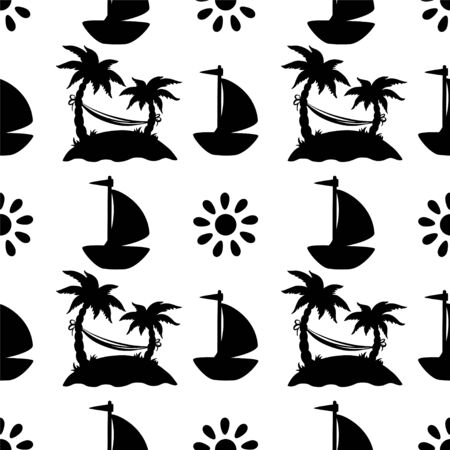 Seamless pattern with silhouettes coconut palm treesのイラスト素材