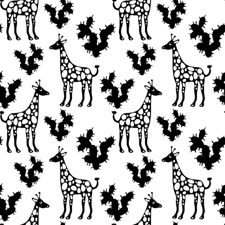 Seamless Pattern with Giraffes and Cactus in Black and White. Endless Print Texture. Hand Drawing. Cartoon Style - vector