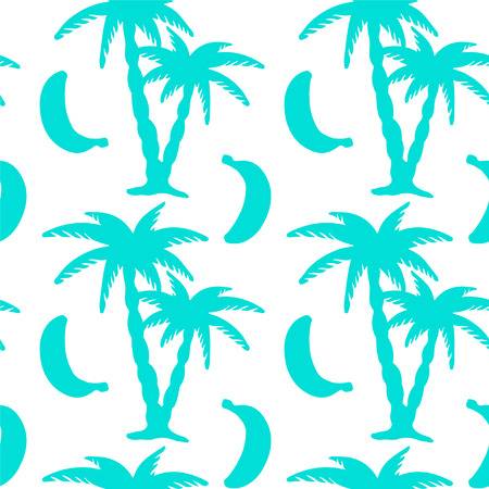 Seamless pattern with tropical coconut palm trees and bananas. Beach background. Endless print silhouette texture. Summer. Forest. Tropic. Food. Fruits - vectorのイラスト素材