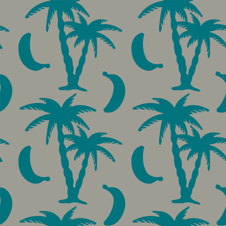 Seamless pattern with silhouettes tropical coconut palm trees and bananas. Summer. Beach holidays background. Food. Fruit. Exotic. Rain forest. Tropics. Endless print textureのイラスト素材