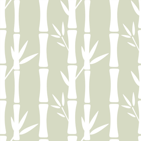 Seamless pattern with silhouettes bamboo trees and leafs. Abstract floral background. Summer, tropics, rain forest. Endless print texture - vector