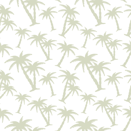 Abstract floral seamless pattern with silhouettes tropical coconut palm trees. Beach background. Summer, tropics, rain forest. Endless print texture - vectorのイラスト素材