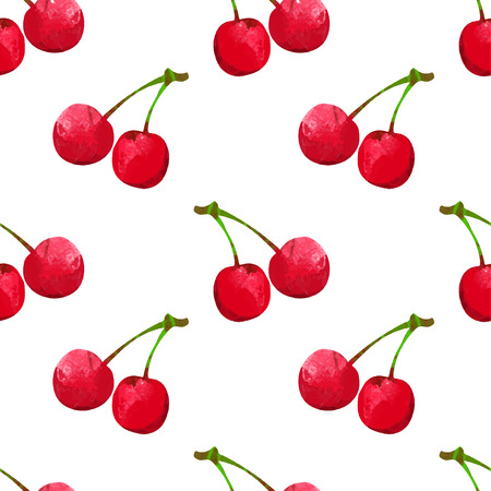 Illustration for Seamless pattern with watercolor berry cherry. Endless repeating print background texture. Fabric design. Wallpaper - Royalty Free Image