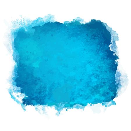 Ilustración de Watercolor blue square stain isolated on a white background - vector - Imagen libre de derechos