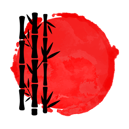 Illustration pour Bamboo trees black silhouettes and watercolor red circle paint stain isolated on a white background. Logo art design - image libre de droit