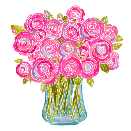 Illustration pour Watercolor bouquet of flowers in a vase closeup isolated on white background - image libre de droit