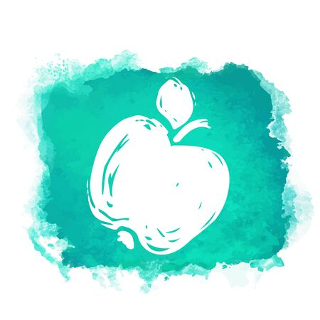Illustration for Watercolor green square paint stain with splash and fruit apple closeup white silhouette. Natural icon isolated on white background. Abstract art. Logo design - Royalty Free Image
