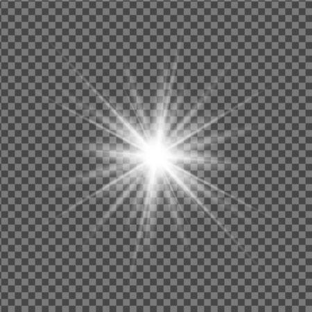 Illustration pour Vector transparent effect of a shining star, sun, spotlight or lamp. Bright light, flash. - image libre de droit