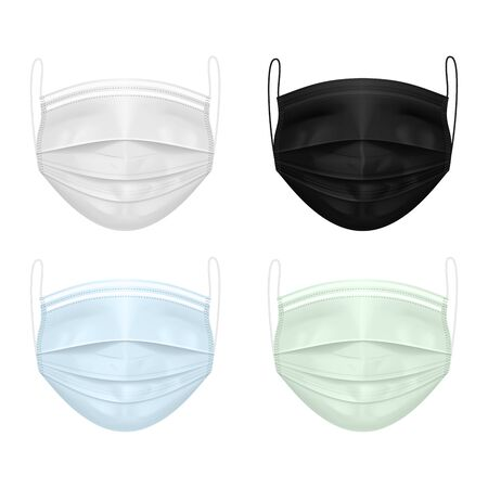 Illustration pour Set of medical masks of different colors: white, black, blue, green. Protection against the virus - image libre de droit
