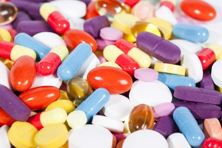 Pills and capsules of many shapes and colors