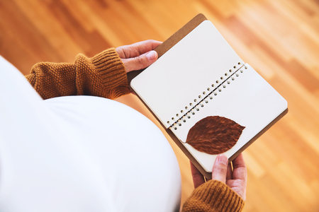 Pregnant woman makes notes in notebook. Young mother anticipation of the baby. Image of pregnancy and maternity. Close-up, copy space, indoors.