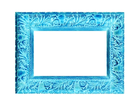 Photo pour Turquoise or aqua carved old wood frame isolated on white background - image libre de droit
