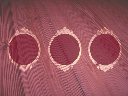 Old pink frames for romantic valentine pictures on soft vintage wood background