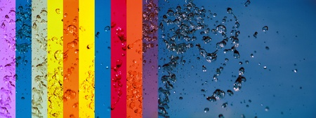 A rainbow of banners backgrounds and blue water background toghether