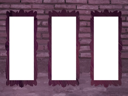 Purple brickwall with empty rectangular frames