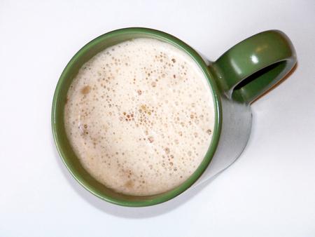 Photo pour Hot soup green cup isolated on white - image libre de droit