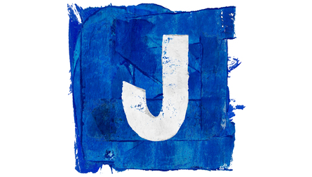 Letter J sign painted in blue paint square